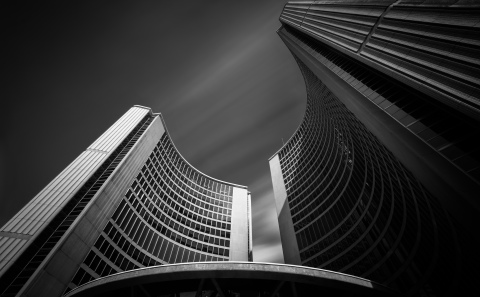 The sweeping curves of the towers and dome are emphasized in the low position and the wide angle lens.